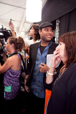 crevante proctor in Custo Barcelona Backstage at the Bryant Park Tents