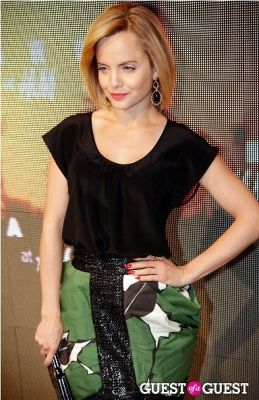 mena suvari in Marni for H&M Collection Launch