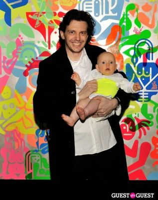 ryan mcginness in Ryan McGinness - Women: Blacklight Paintings and Sculptures Exhibition Opening