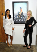 L-R: Mashinda Tifrere and artist Anne Faith Nicholls attend the Art LeadHERS exhibition opening at Joseph Gross Gallery in New York, NY on May 5, 2016.  (Photo by Stephen Smith)