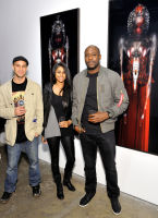 L-R: Jay Rogriguez, Jyothi Raju and Rock Davis attend the Art LeadHERS exhibition opening at Joseph Gross Gallery in New York, NY on May 5, 2016.  (Photo by Stephen Smith)
