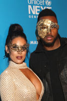 LOS ANGELES, CA - OCTOBER 27:  Model Carissa Rosario (L) and former NFL player James Anderson at the fourth annual UNICEF Next Generation Masquerade Ball on October 27, 2016 in Los Angeles, California.  (Photo by Tommaso Boddi/Getty Images for U.S. Fund for UNICEF)