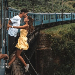This Influencer Couple Hung Out Of A Moving Train For The 'Gram