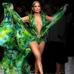 Jennifer Lopez Revisited *That* Iconic Grammys Dress To Close Out Today's Versace Show