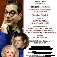 Today's Newsletter Giveaway: Two Tickets To The Celebration Of Michael Musto's 25th Anniversary At The Village Voice!