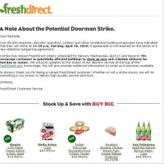 Fresh Direct Urging Customers To Stock Up On Groceries Before The Doorman Strike