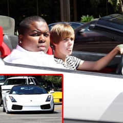 How Hard Does Justin Bieber Look Pushing This Drop Top Lambo?!