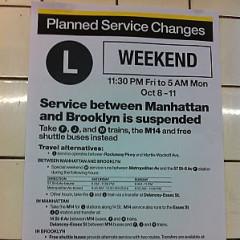 Manic Panic: Manhattan-Brooklyn L Train Service Is Down This Weekend