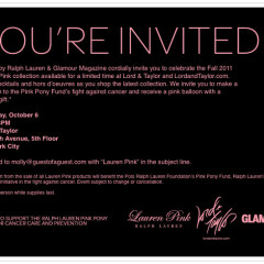 You're Invited: A Celebration Of The Lauren By Ralph Lauren 2011 Pink Collection