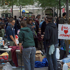 Happening Right Now: The Make-Your-Own-T-shirt Station At #OccupyWallSt