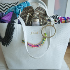 StyleBomb's Feels Like Love: GiGi's White Embossed Python Leather Teddie Tote Bag And All It Carries