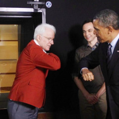 Steve Martin And Barack Obama Elbow Bump